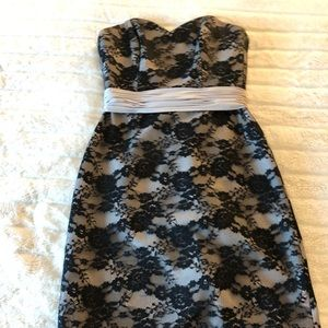 Black lace covered grey dress with corset back